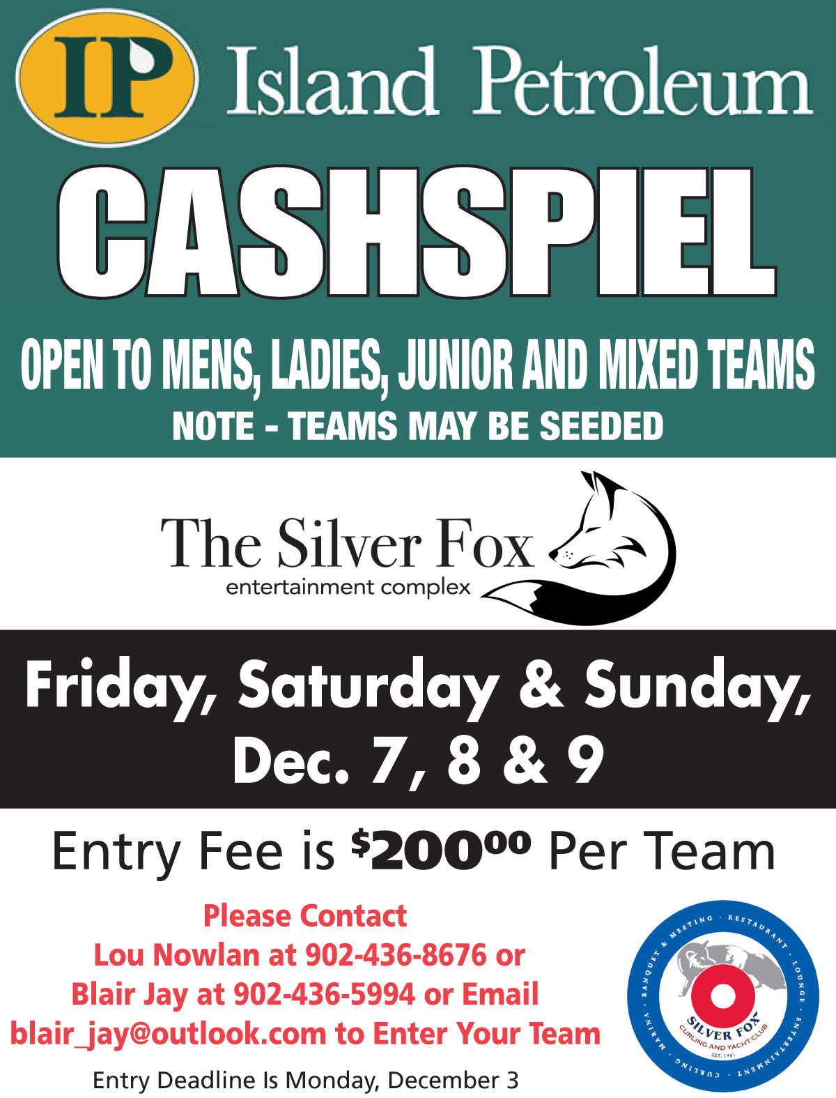 Island Petroleum Cashspiel @ Silver Fox Curling and Yacht Club