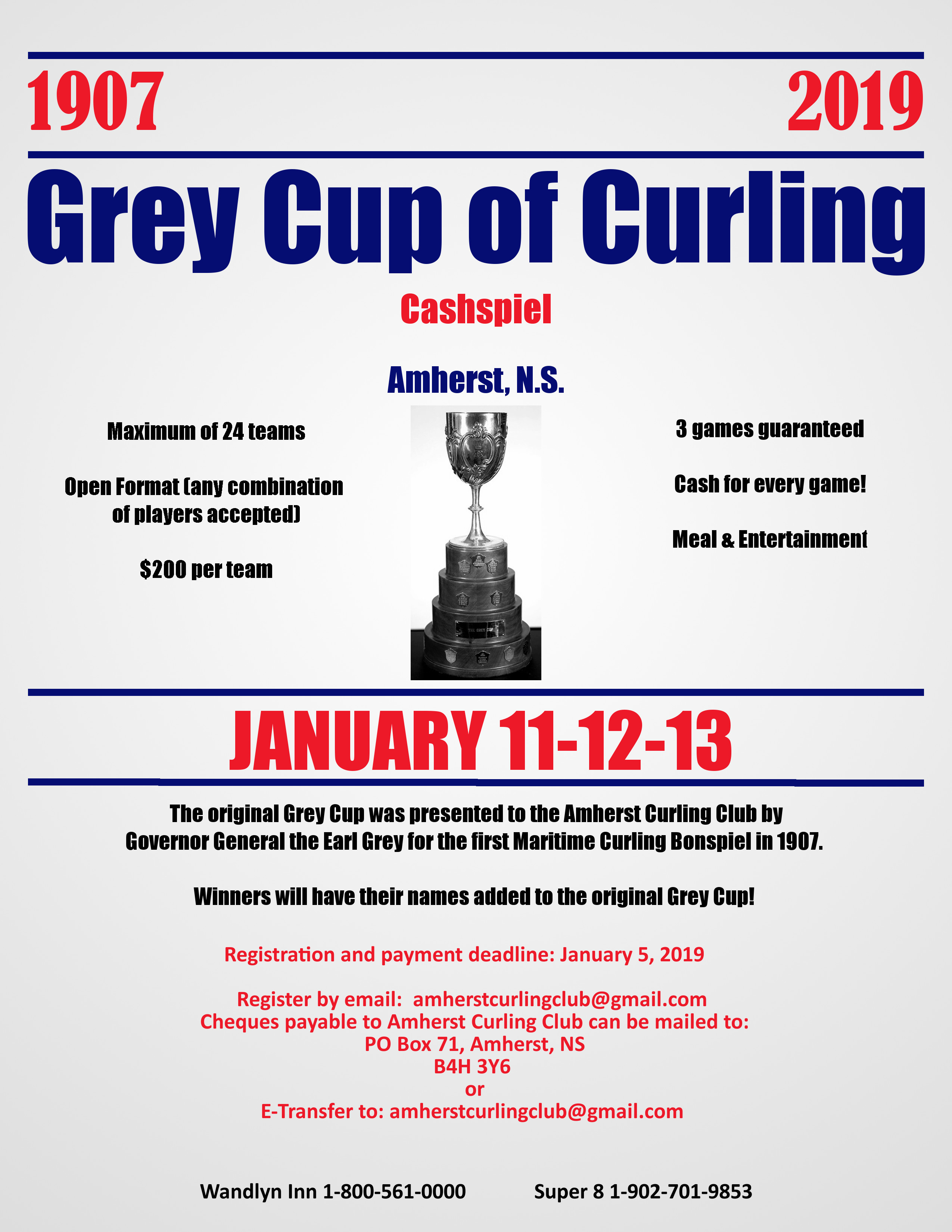 Grey Cup of Curling Cashspiel @ Amherst Curling Club | Amherst | Nova Scotia | Canada