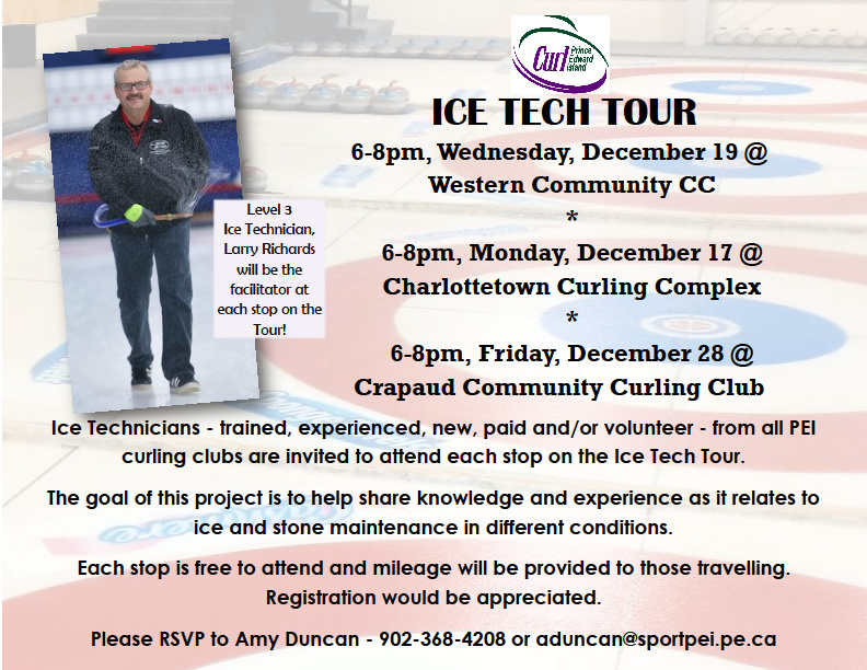 Update: Curl PEI Ice Tech Tour Stop 1 postponed to next Wednesday Dec. 19 due to weather