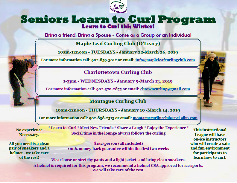 Seniors Learn to Curl Program coming in Jan. to O'Leary, Ch'town, Montague