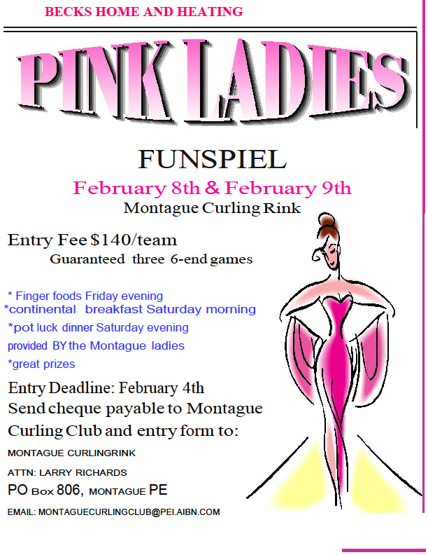 Annual Beck's Home and Heating Pink Ladies Women's Funspiel @ Montague Curling Rink