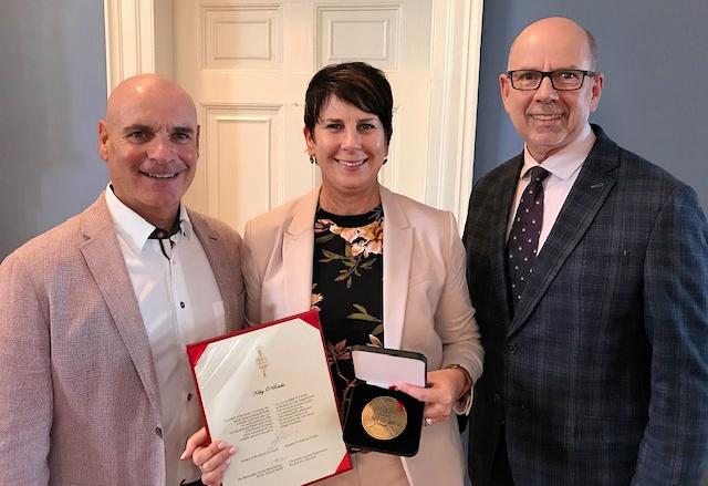 Curler Kathy O'Rourke receives Senate of Canada 150 Medal