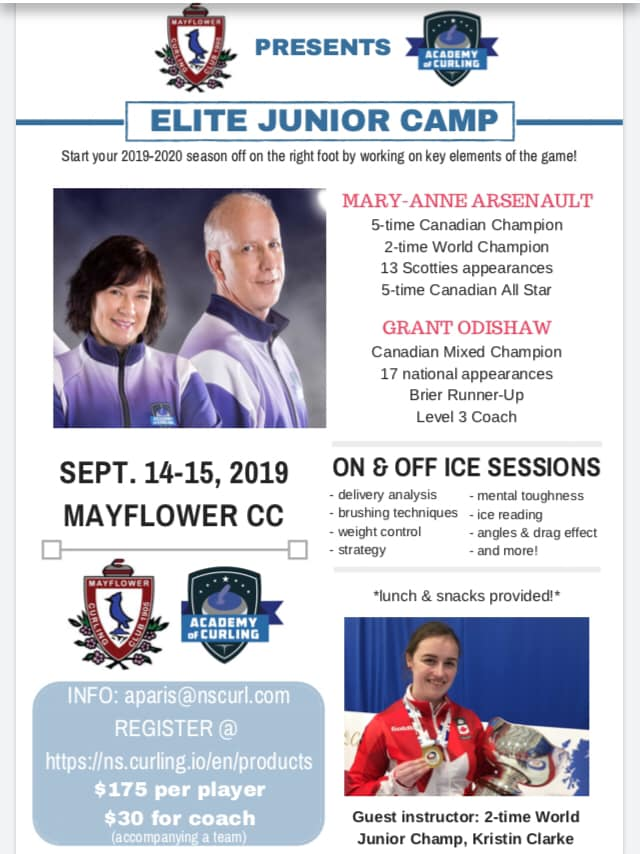 Elite Junior Camp mid-Sept. in Halifax @ Mayflower Curling Club