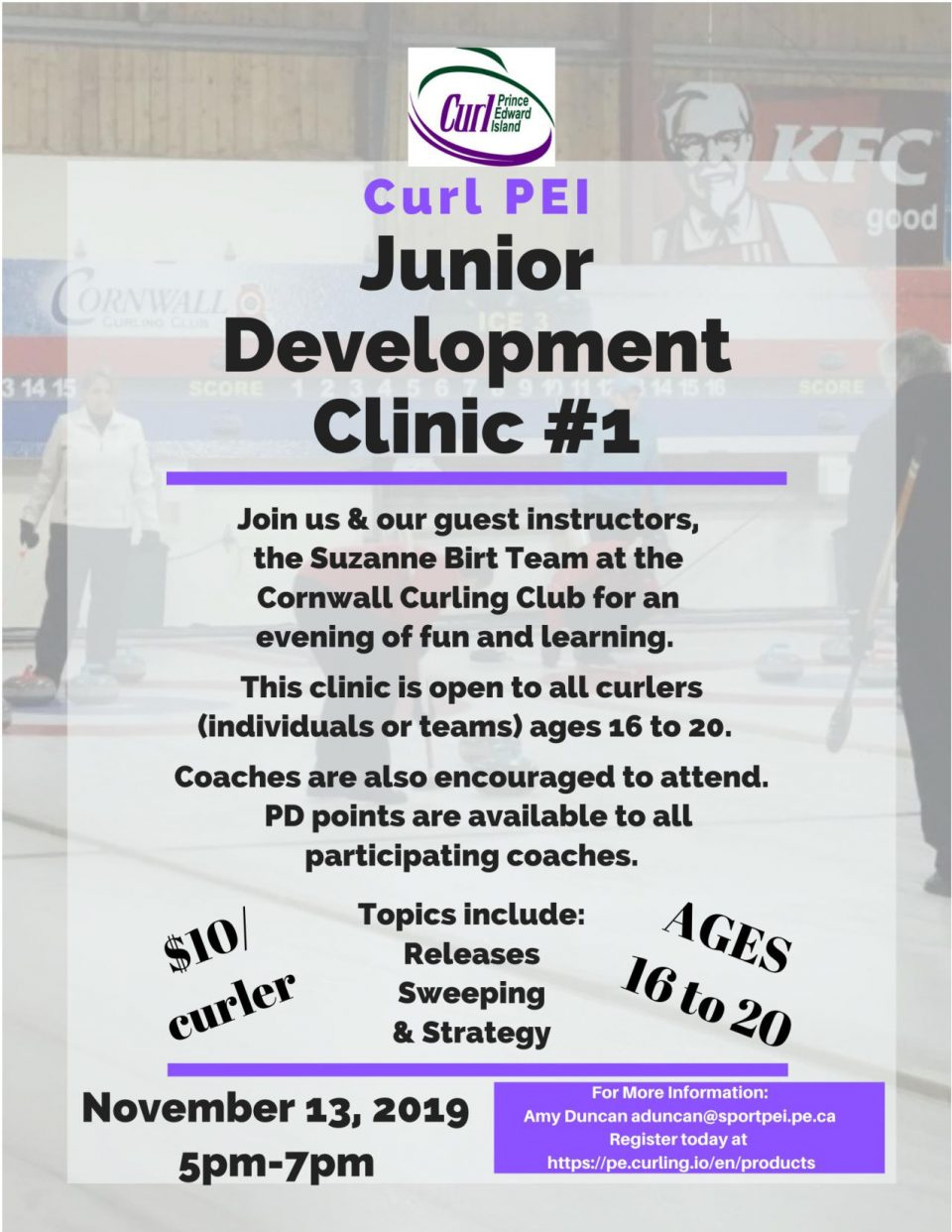 Junior Development Clinic for ages 16-20 @ Cornwall Curling Club