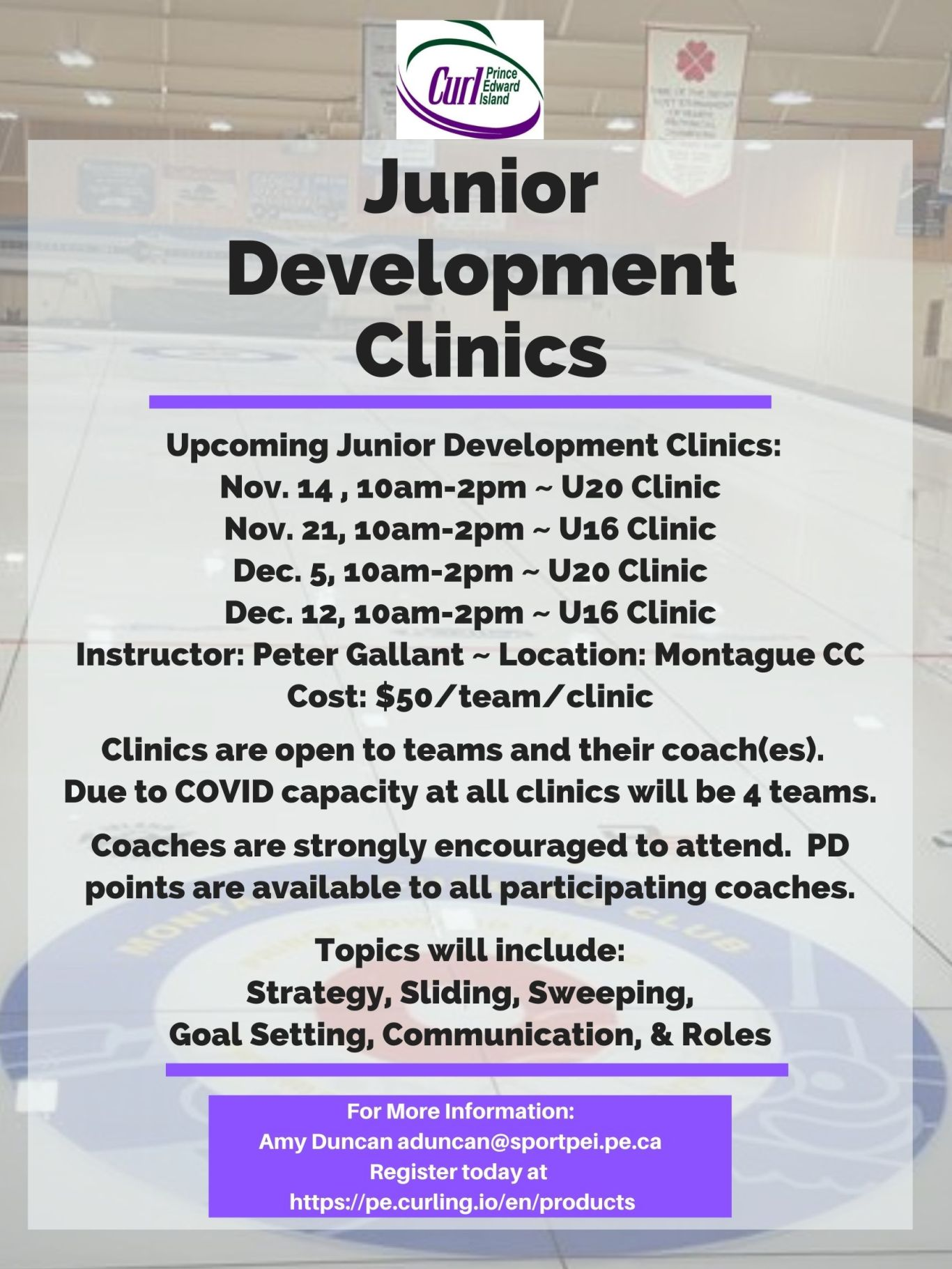 Curl PEI U20 Dev't Clinic @ Montague Curling Rink