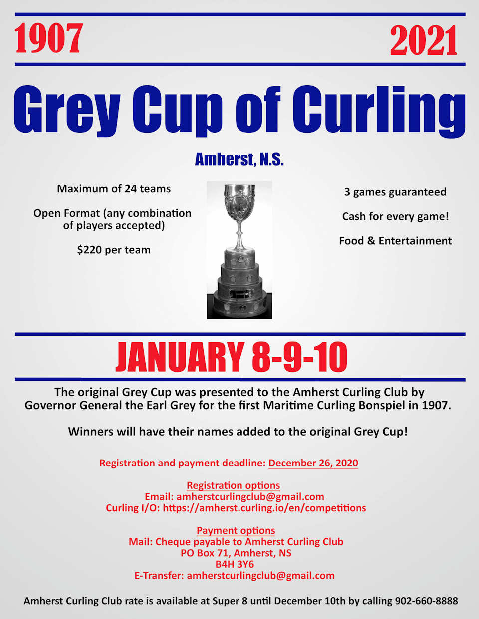 CANCELLED: Grey Cup of Curling Bonspiel @ Amherst Curling Club