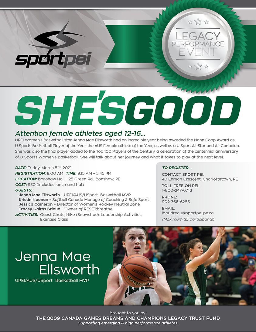 Sport PEI holding She's Good event for female athletes age 12-16 @ Bonshaw Hall