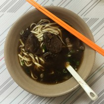Beef noodles with tender and moist beef chunks!