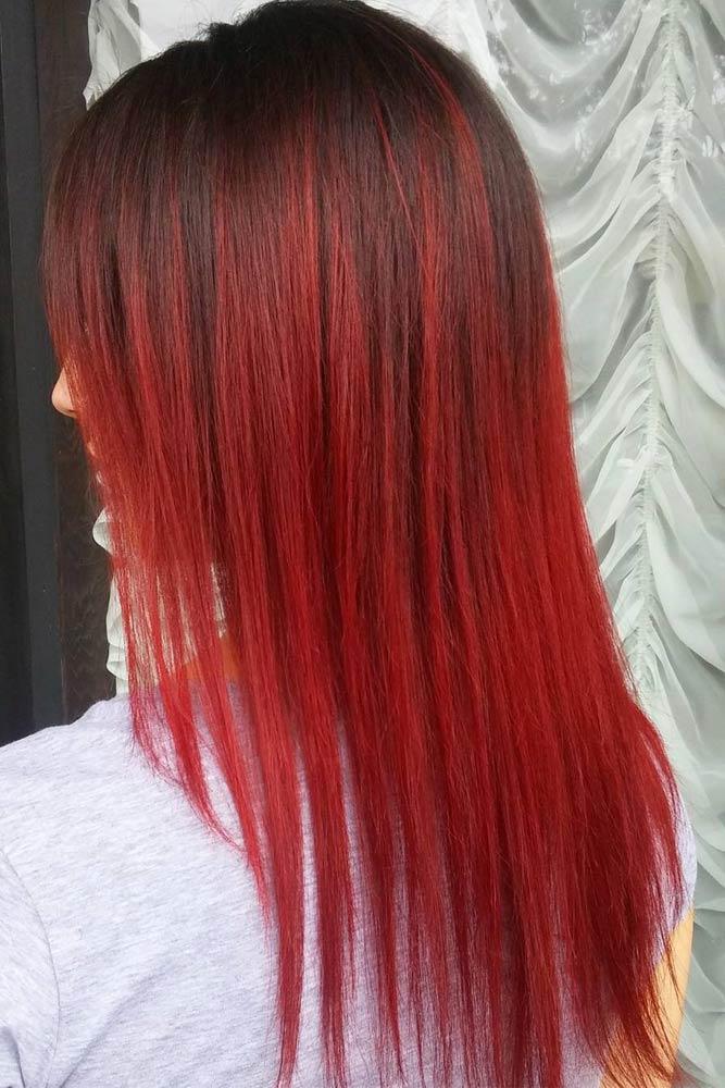 Cabello Largo de color Rojo 4  Peinados