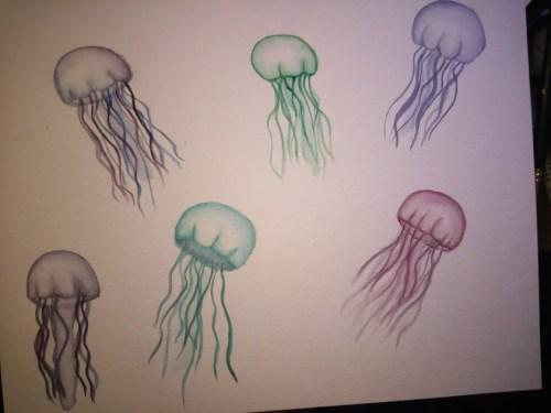méduses à l'aquarelle