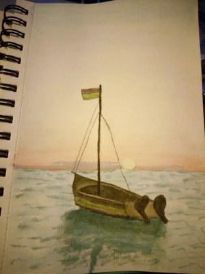 Mer et coucher de soleil à l'aquarelle