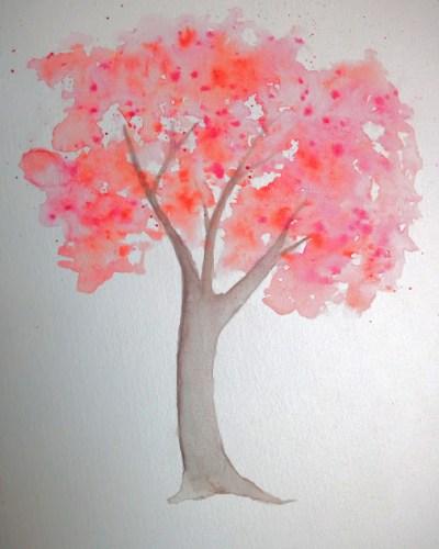 arbre coloré à l'aquarelle