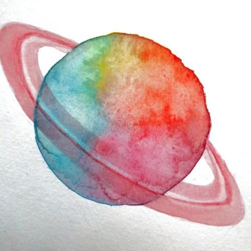 Planète colorée à l'aquarelle