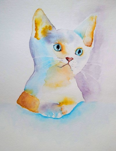 chat coloré à l'aquarelle