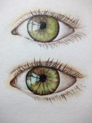 Œil aux crayons aquarelles et œil à la peinture aquarelle en godet