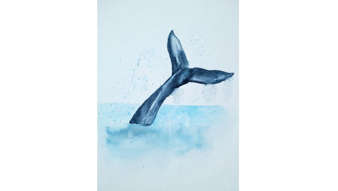 Une queue de baleine à l'aquarelle