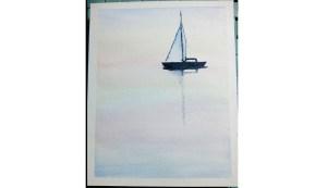 Peindre un bateau sur la mer à l'aquarelle (vidéo)