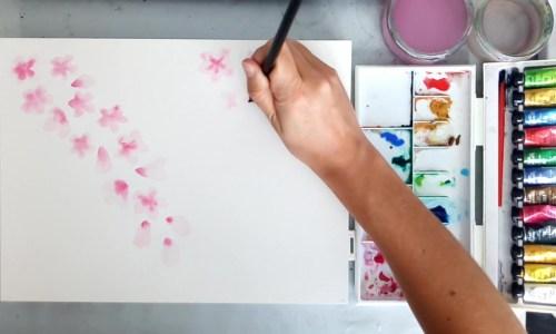 fleurs de cerisier à l'aquarelle
