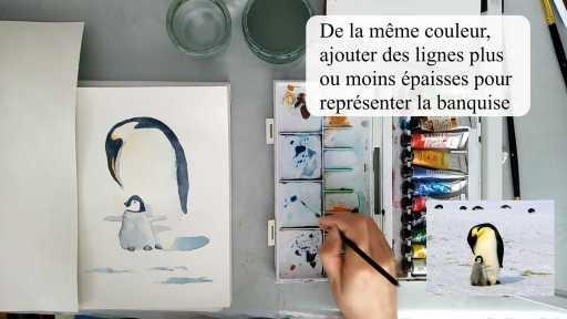 Peindre des bandes bleutées pour représenter la banquise à l'aquarelle