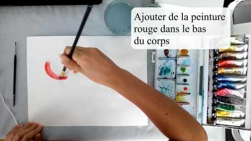 peindre le corps en rouge en utilisant la technique humide