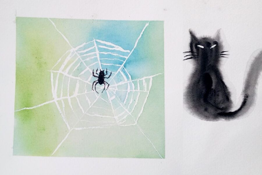Deux mini-aquarelles pour Halloween