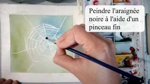 Peindre l'araignée noire à l'aide d'un pinceau fin