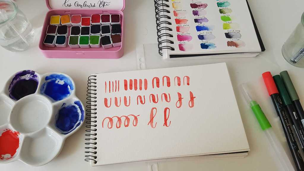 Exercice pour débuter le lettering à l'aquarelle
