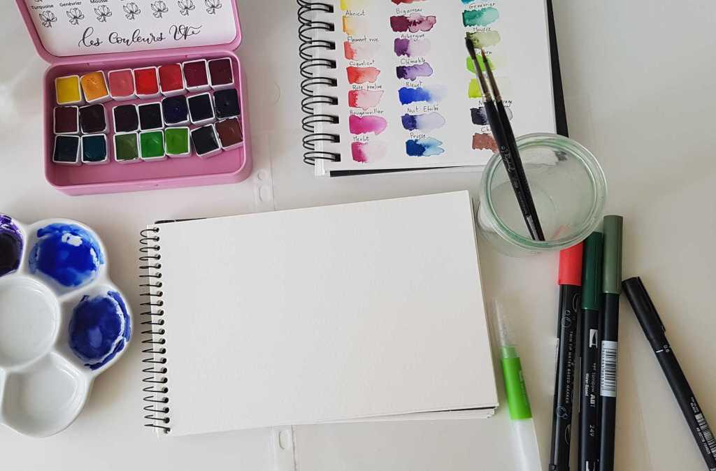 Le matériel pour le lettering à l'aquarelle