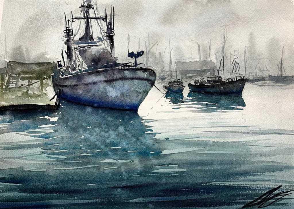 Aquarelle marine par l'aquarelliste Rémy Lach