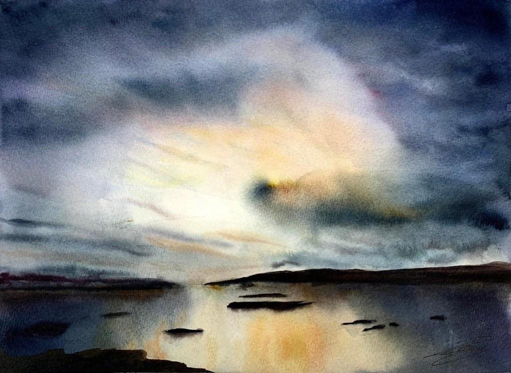 Coucher de soleil à l'aquarelle par Rémy Lach