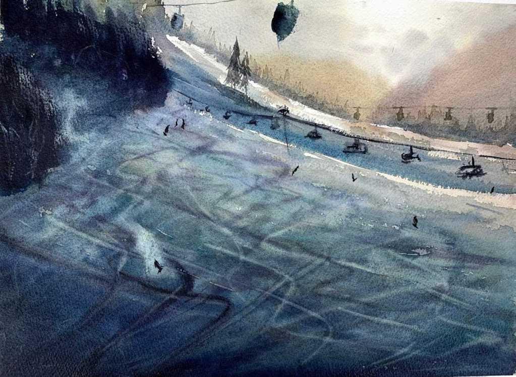 Ski à l'aquarelle par l'aquarelliste Rémy Lach