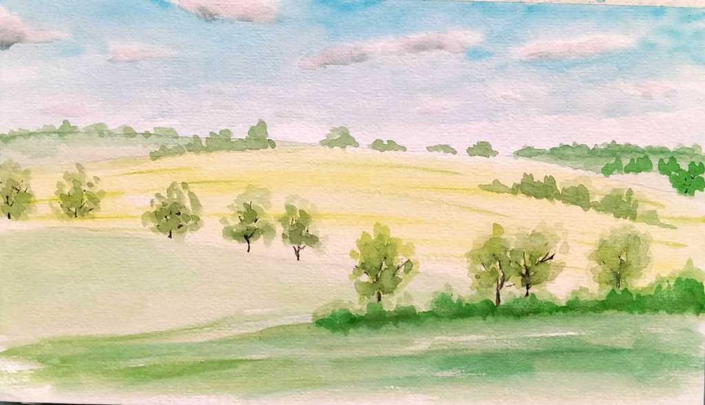 Paysage de champs à l'aquarelle