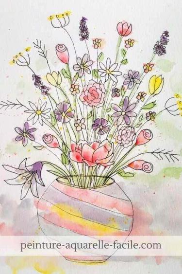 Aquarelle dans le style doodling