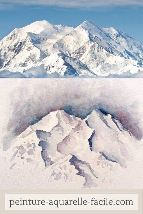 Montagne à l'aquarelle