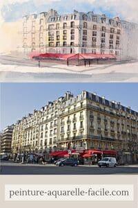 Perspective pas parfaite mais cohérente pour une aquarelle d'immeubles