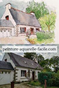 Perspective pas parfaite mais cohérente pour une aquarelle de maison