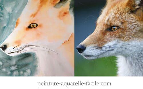 Astuces dessin : Un renard à la peinture aquarelle dessiné correctement