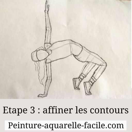 Etape 3 dessiner une personne : affiner les formes, tout relier
