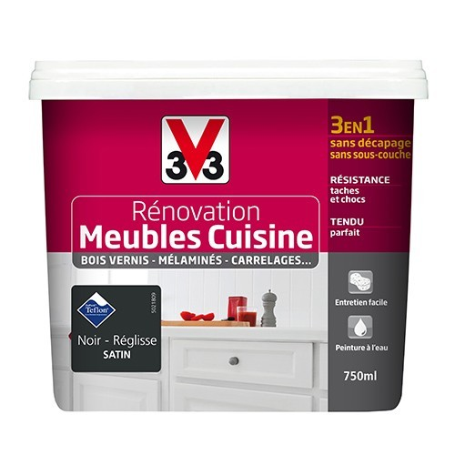 v33 renovation meubles cuisine bois vernis melamines stratifies satin noir reglisse de la marque v33