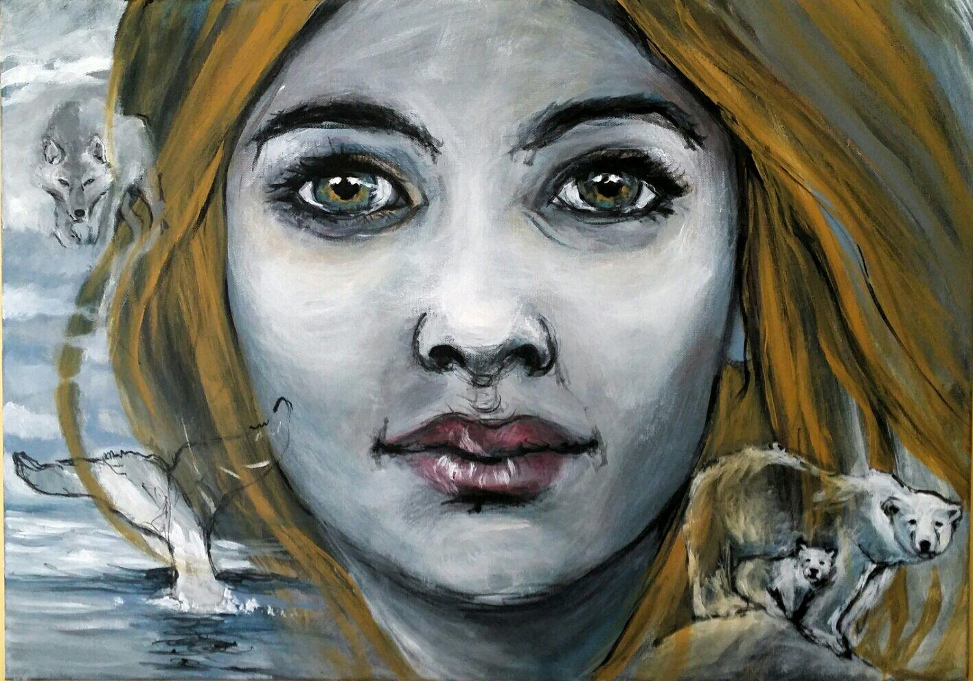 Acrylique Couteau Portrait Femme Peinture Dart Et Desprit