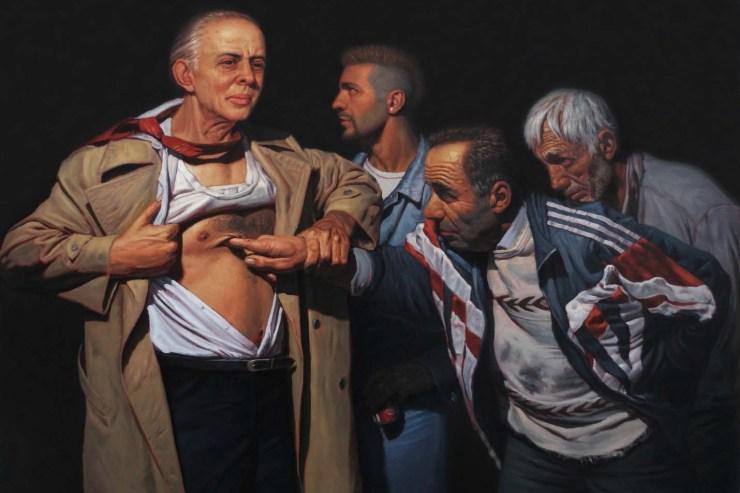 Fig. 1. Enkelejd Zonja, Vizitë në plagë, bojë vaji mbi pëlhurë, 2010.
