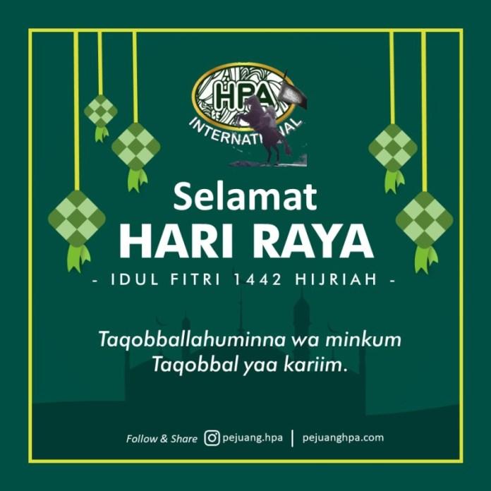 Keluarga Besar Pejuang HPA mengucapkan Selamat Idul Fitri 1442 H