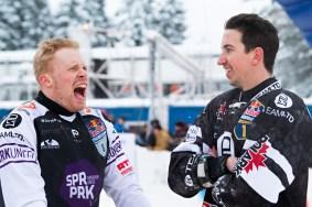Mirko Lahti (vas.) ja Kyle Croxall. Alamäkiluistelun MM-kisat Jyväskylässä 2.2.2019.