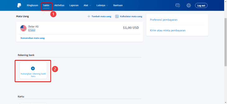 Tampilan Halaman Saldo Paypal