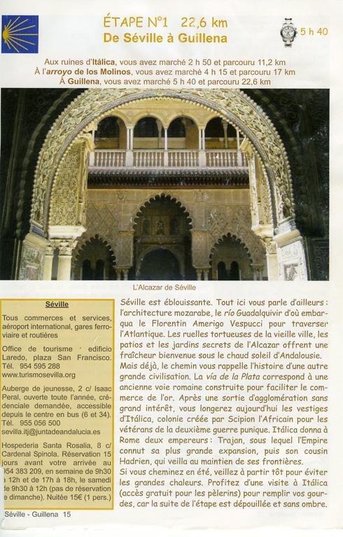 """Guide Lepère """"Sur le chemin de Saint Jacques de Compostelle, La Via de la Plata et le camino sanabrés"""", Edition ? (3), exemple de présentation d'une étape (première page)."""