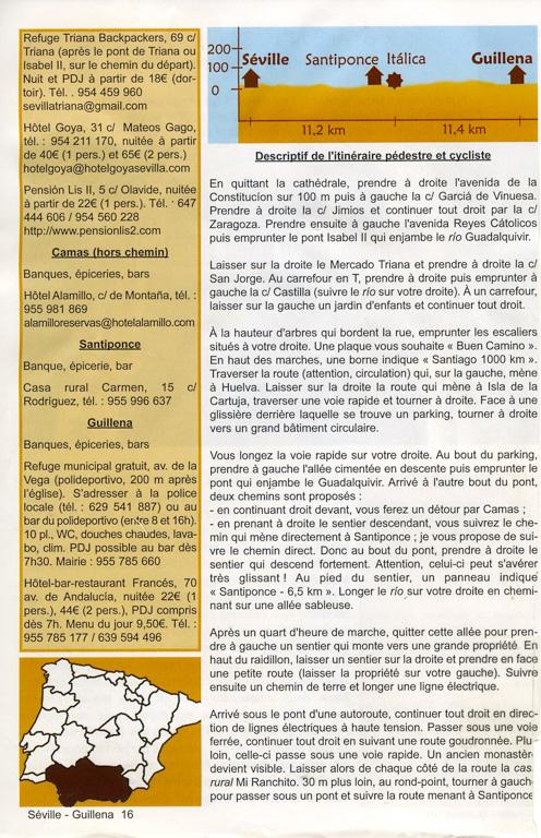 """Guide Lepère """"Sur le chemin de Saint Jacques de Compostelle, La Via de la Plata et le camino sanabrés"""", Edition ? (3), exemple de présentation d'une étape (deuxième page)."""