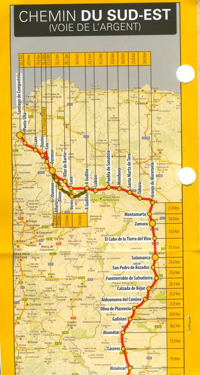 Document délivré par l'office du tourisme de la Xunta de Galicia sur la Via de la Plata, la carte du chemin (1)