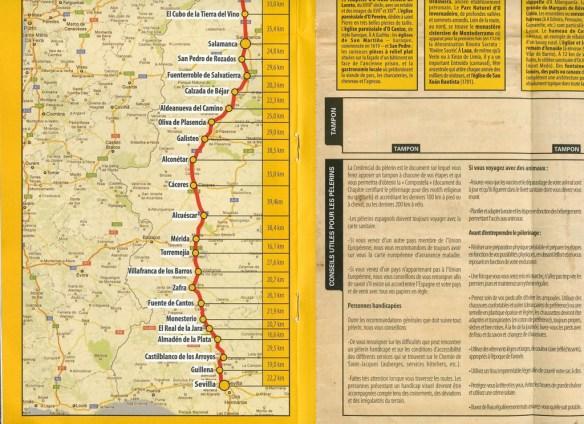 Document délivré par l'office du tourisme de la Xunta de Galicia sur la Via de la Plata, la carte du chemin (2)