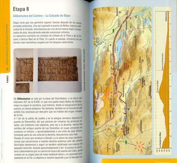 Guide en espagnol Via de la Plata des Editions Everest, de Joaquim Alonso, Miguel Pérez, exemple de présentation d'une étape (première double page).