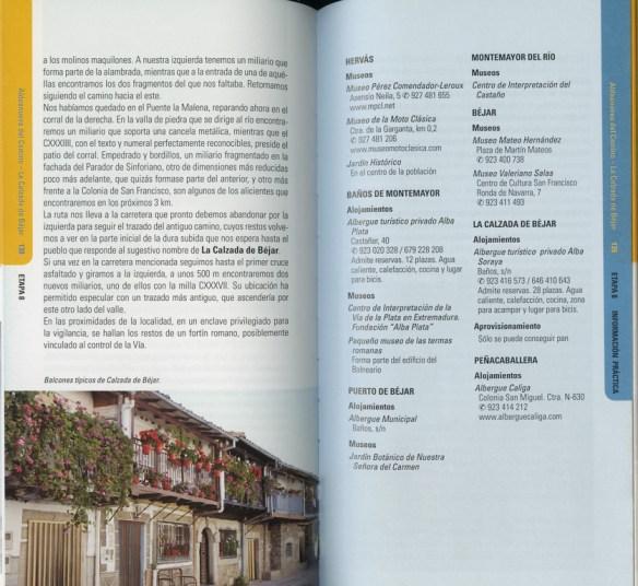 Guide en espagnol Via de la Plata des Editions Everest, de Joaquim Alonso, Miguel Pérez, exemple de présentation d'une étape (troisième double page).